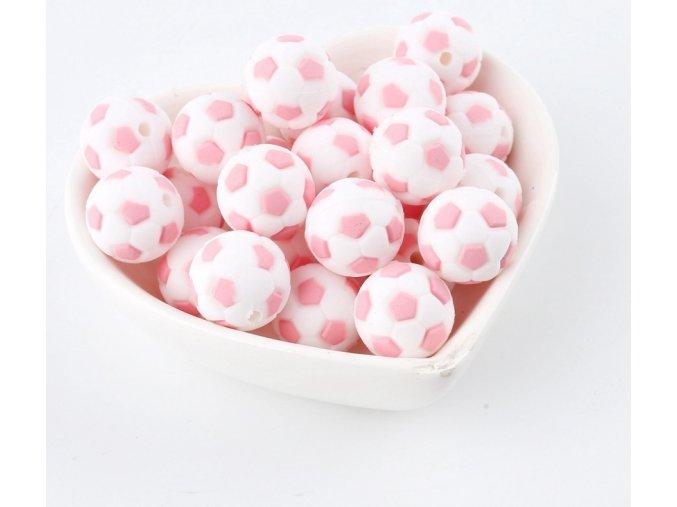 Silikonové korálky FOTBAL 15mm (1ks) - candy pink