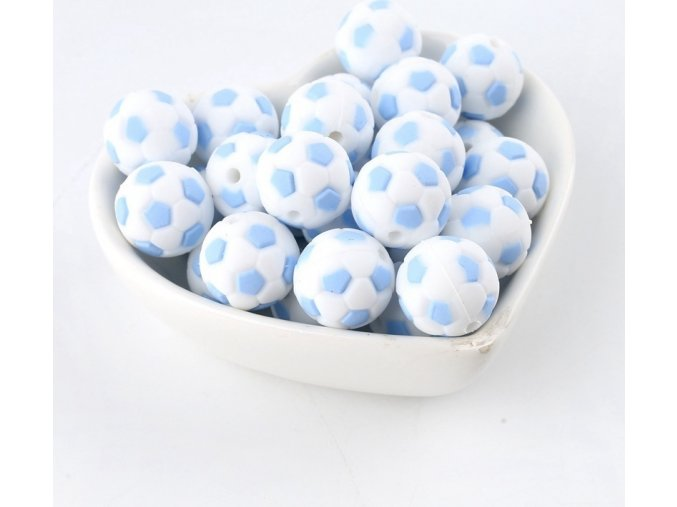 Silikonové korálky FOTBAL 15mm (1ks) - candy blue