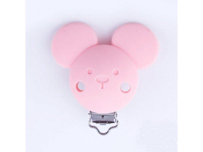 Klip na dudlík silikonový MICKEY (1ks) - pink
