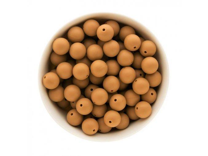 Silikonové korálky 15mm (10ks) - sandy brown