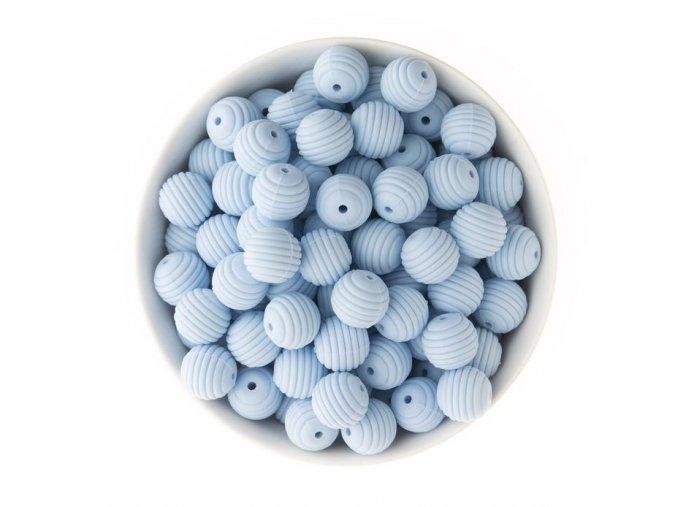 Vroubkované silikonové korálky 15mm (1ks) - blue