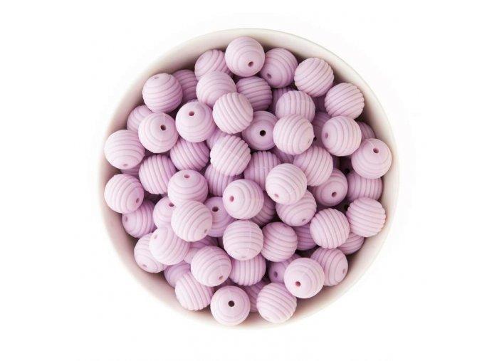 Vroubkované silikonové korálky 15mm (1ks) - purple