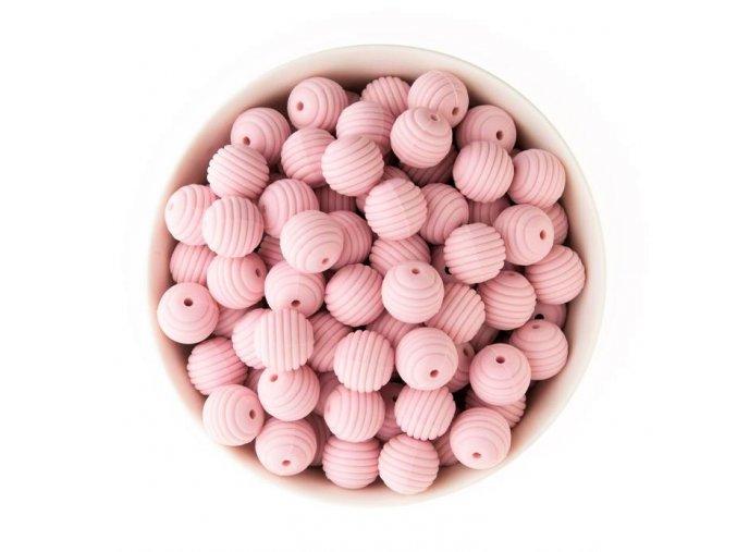 Vroubkované silikonové korálky 15mm (1ks) - pink