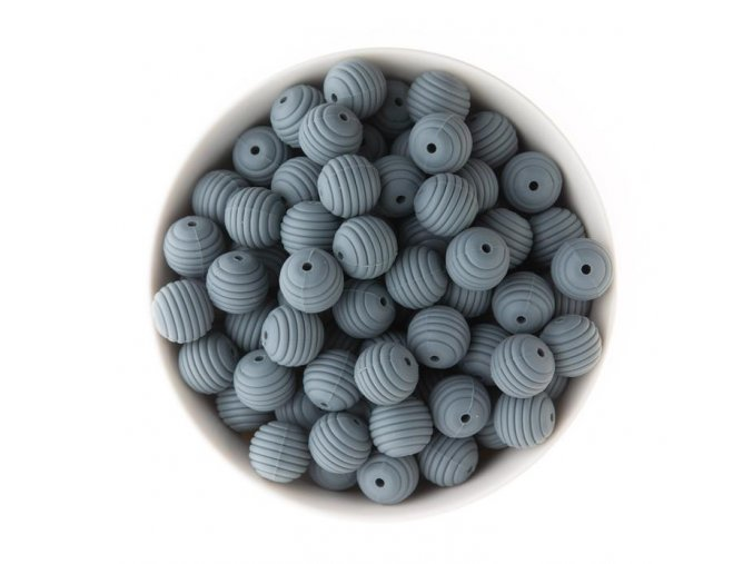 Korálky silikonové 15mm (1ks) - deep grey