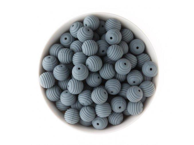 Vroubkované silikonové korálky 15mm (1ks) - deep grey