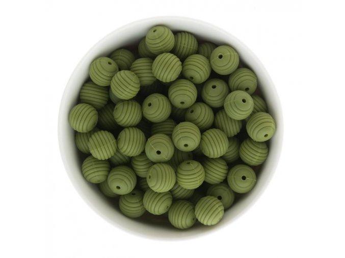 Vroubkované silikonové korálky 15mm (1ks) - army green