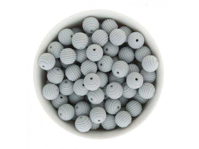 Vroubkované silikonové korálky15mm (1ks) - light grey