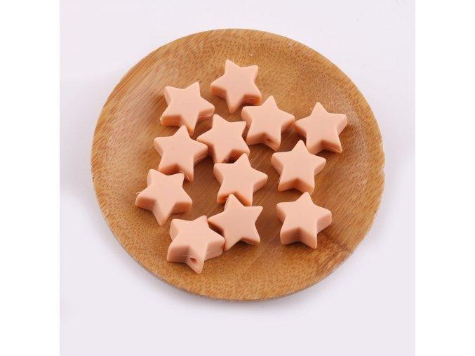Silikonové hvězdičky 12mm (2ks) - peachy