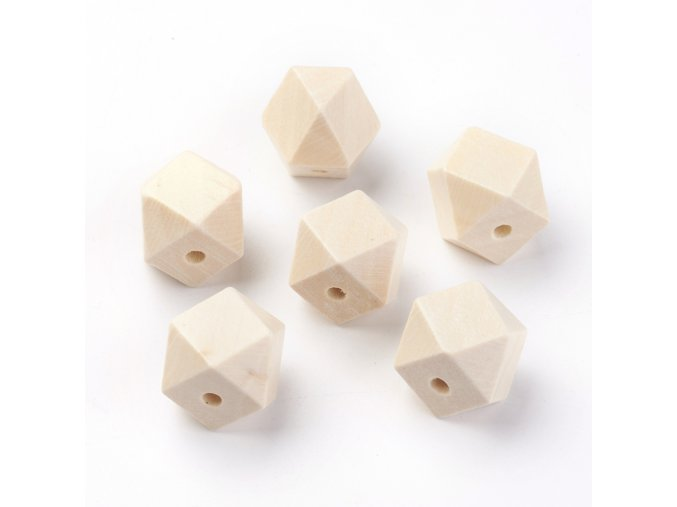 Dřevěné korálky hexa 15x15mm (10ks)