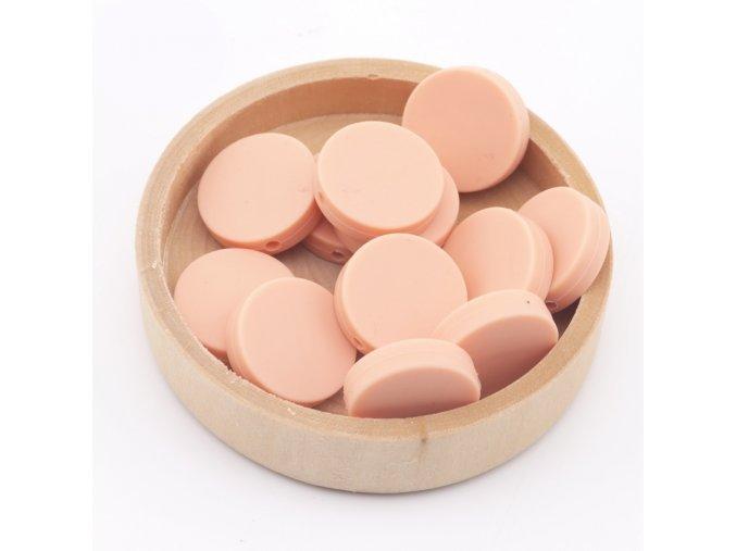 Silikonové korálky placka 20mm (1ks)-peachy