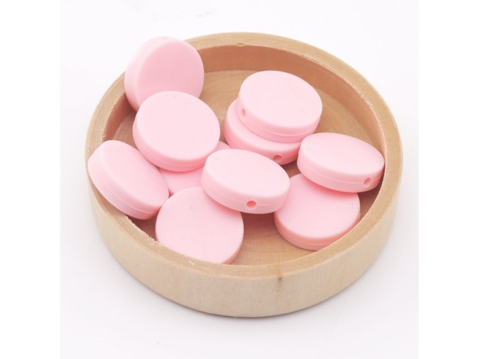Silikonové korálky placka 20mm (1ks) - candy pink