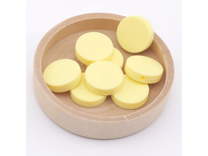 Silikonové korálky placka 20mm (1ks)-candy yellow