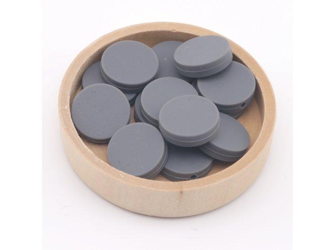 Silikonové korálky placka 20mm (1ks) - gray