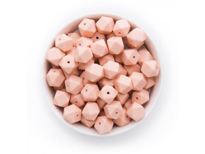 Silikonové korálky hexa 14mm (1ks) - peachy