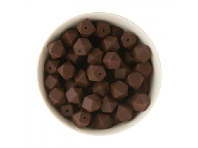 Silikonové korálky hexa 14mm (1ks) - chocolate