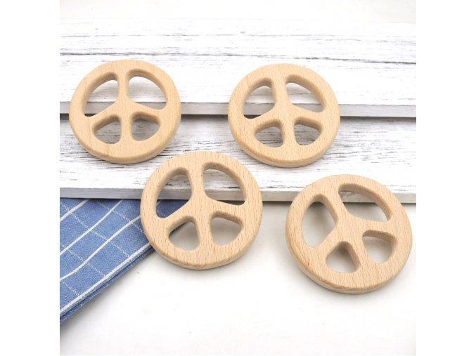 Dřevěné kousátko 80mm (1ks) - peace