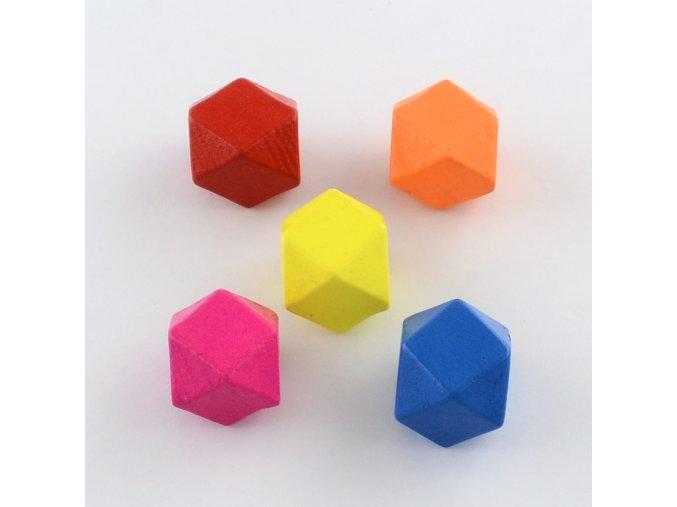 Dřevěné korálky hexa 20mm - barevný mix (5ks)