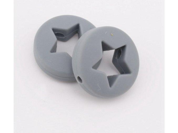 Silikonová hvězda 20mm (1ks) - šedá