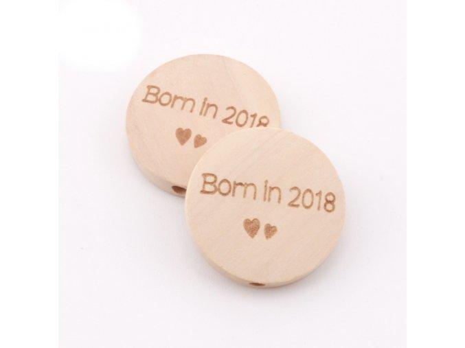 Dřevěné korálky disk 20mm (1ks) - BORN IN 2018
