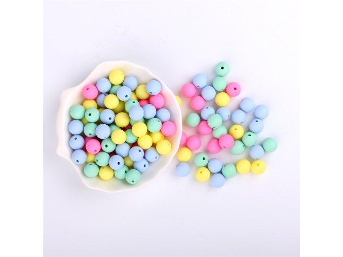 Silikonové korálky 12mm (10ks) - candy mix