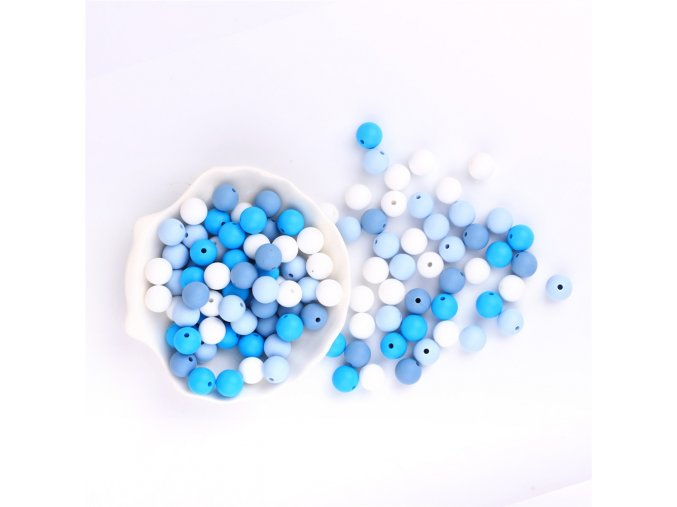 Silikonové korálky 12mm (10ks) - blue mix