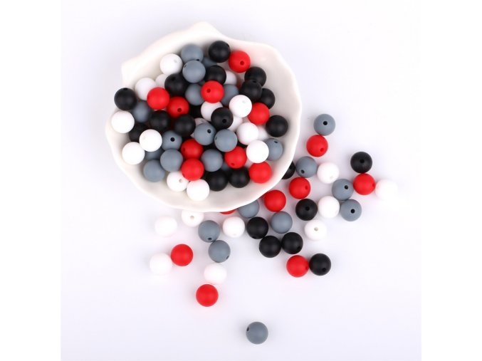Silikonové korálky 12mm (10ks) - black/white mix