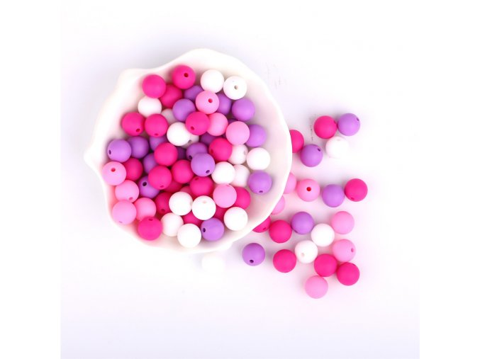 Silikonové korálky 12mm (10ks) - purple mix