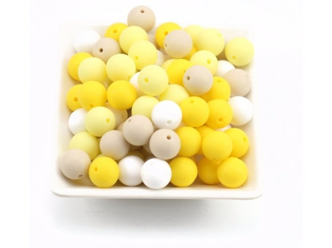 Silikonové korálky 15mm (10ks) - yellow mix