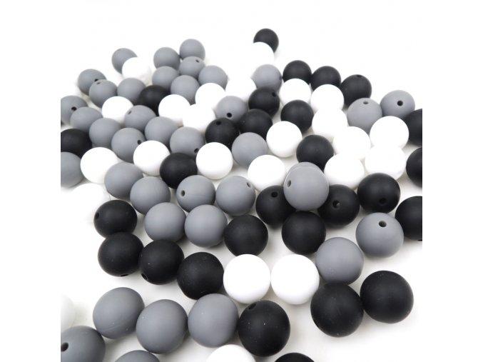 Silikonové korálky 15mm (10ks) - grey mix