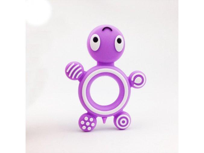 Kousátko silikonové ŽELVA (1ks) - fialová