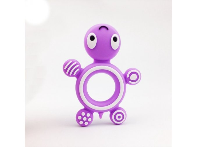 Kousátko silikonové ŽELVA (1ks) - purple