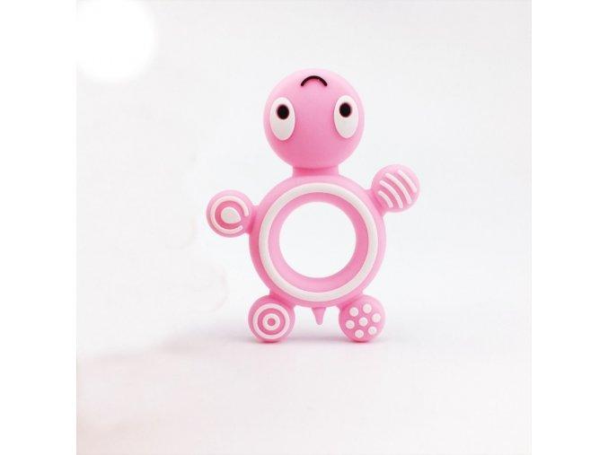 Kousátko silikonové ŽELVA (1ks) - candy pink