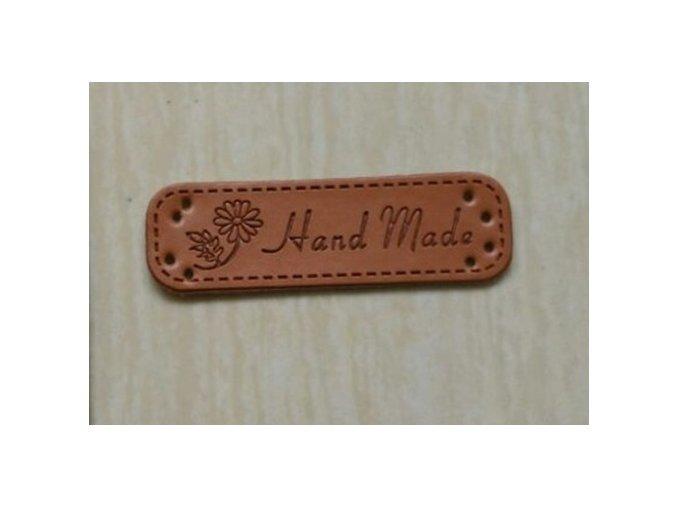 Eko kůže cedulka Hand made 15x48 mm (2ks) kytička