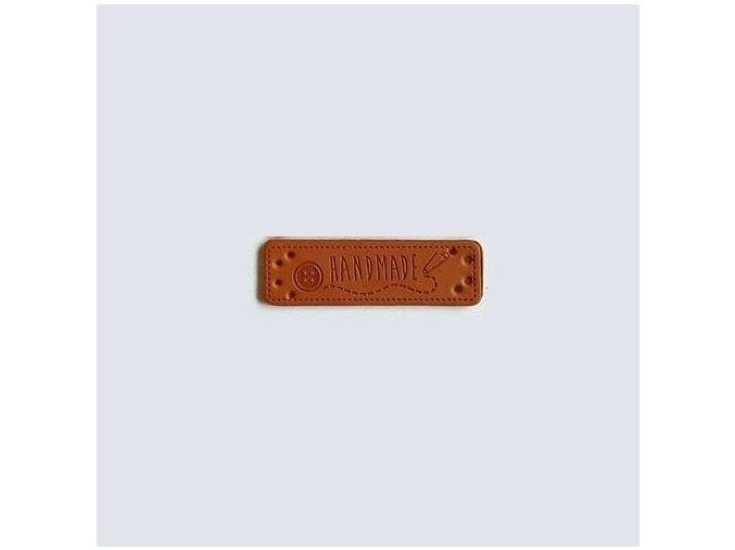 Eko kůže cedulka Hand made 15x48 mm (2ks) knoflík