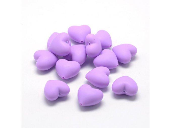 Silikonové srdíčko 20mm (1ks) - Purple