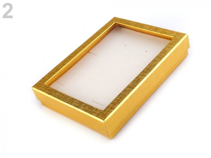 Krabička s průhledem polstrovaná 12x16cm - zlatá