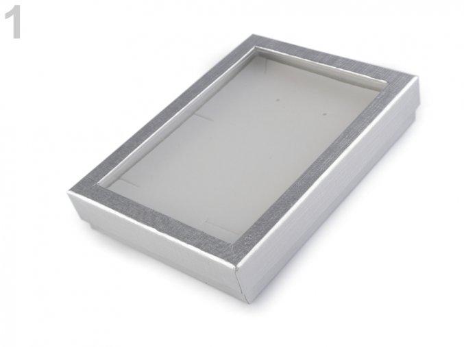 Krabička s průhledem polstrovaná 12x16cm -stříbrná