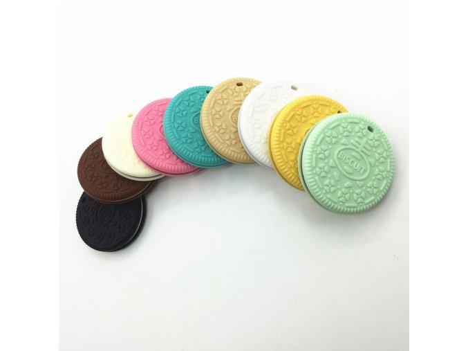 Kousátko silikonové - sušenka (1ks) - bílá