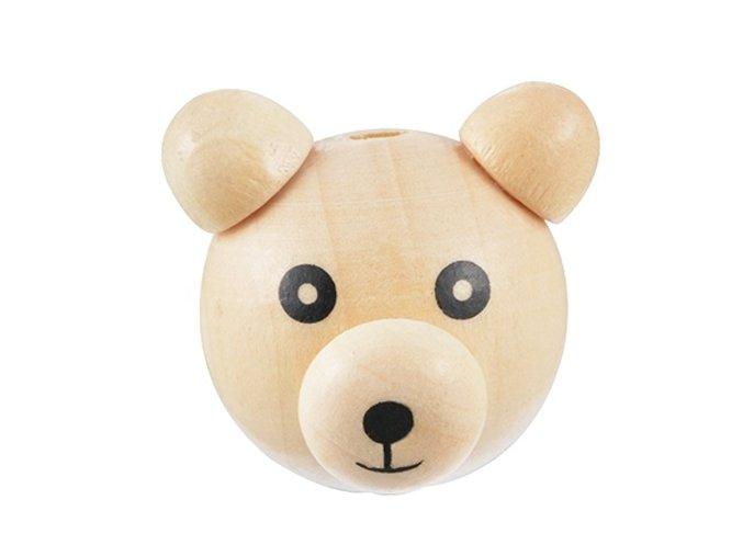 Dřevěná hlava medvídek 28mm (1ks) - přírodní