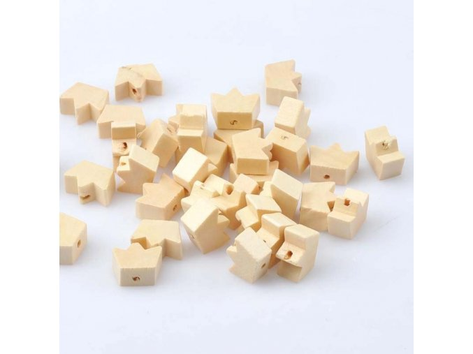 Dřevěné korálky korunka 13x18mm (10ks)