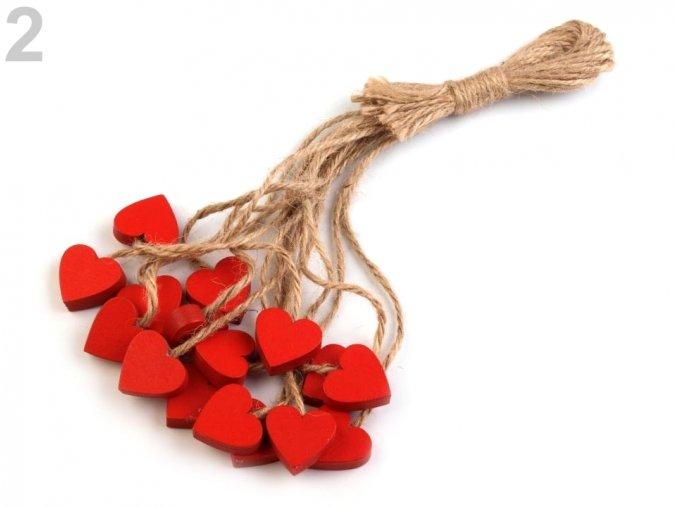 Dřevěné srdce s provázkem (4ks) - červená