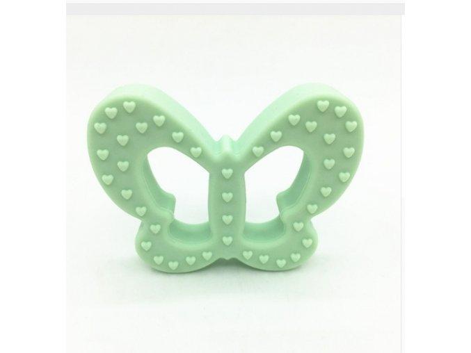 Kousátko silikonové - motýl (1ks) - mentolová