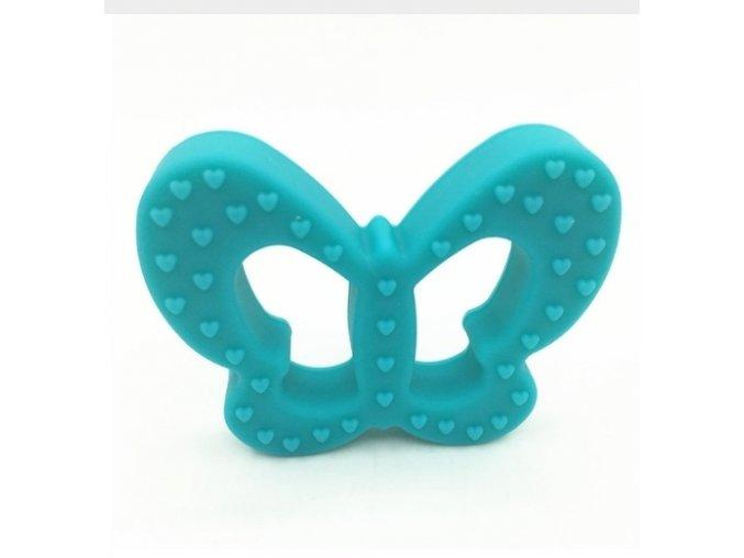 Kousátko silikonové - motýl (1ks) - aqua