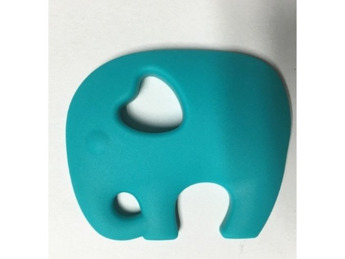 Kousátko silikonové - slon(1ks) - tyrkysová