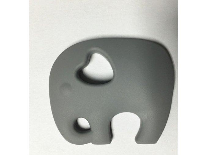 Kousátko silikonové - slon(1ks) - šedá
