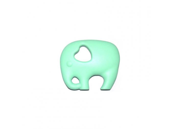 Kousátko silikonové - slon(1ks) - mentolová