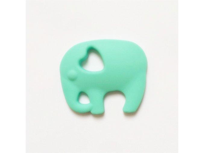 Kousátko silikonové - slon(1ks) - aqua