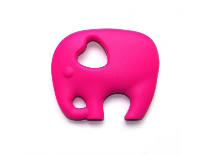 Kousátko silikonové - slon(1ks) - fuchsiová