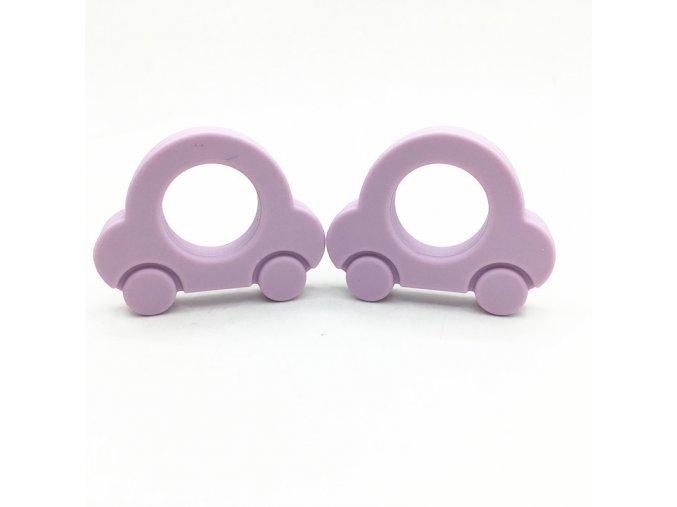Kousátko silikonové - autíčko (1ks)-pastel.fialová