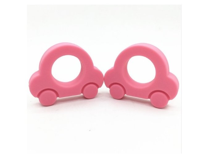 Kousátko silikonové - autíčko (1ks) - růžová sv.